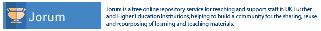 Jorum is a free online repository service for teaching and support staff in UK Further and Higher Education Institutions, helping to build a community for the sharing, reuse and repurposing of learning and teaching materials.