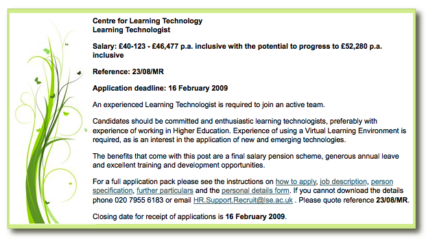 LSE job posting